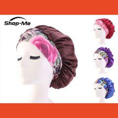 Women's Fashion Satin Headscarf Hat Sleeping Bonnet Hair Wrap Silk Cap Head Scarf Headwear Brown
