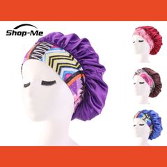 Women's Fashion Satin Headscarf Hat Sleeping Bonnet Hair Wrap Silk Cap Head Scarf Headwear Purple
