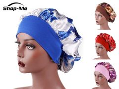 Women's Fashion SatinHeadscarf Hat Sleeping Bonnet Hair Wrap Silk Cap Head Scarf Headwear Blue