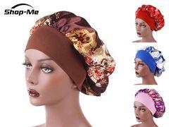 Women's Fashion SatinHeadscarf Hat Sleeping Bonnet Hair Wrap Silk Cap Head Scarf Headwear Brown