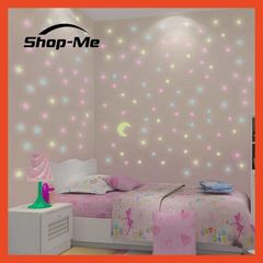 100Pcs Luminous Fluorescent Glow In The Dark Stars Wall Stickers Gift Kid Bedroom Removable Blue(100pcs/Bag) 3mm-100pcs/Bag