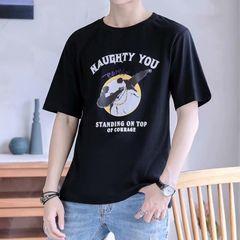 Clothes Men T-shirts Men's Clothes Polos Wide Trend Loose Type T-shirt Panda Youth Top Men black l polyester + cotton