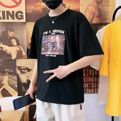 Clothes Men T-shirts Polos Men Short Sleeve T-shirt Half Sleeve Polo Shirt Loose Men's Clothes black l polyester + cotton