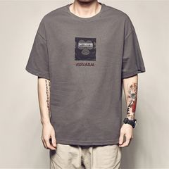 Polos Men T-shirts Men's Clothes Men's Casual Loose Short Sleeve T-shirt Youth Round Neck T-shirt gray 2xl polyester + cotton