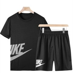Suits Men Clothes Men Clothing Short Sleeve T-shirts Men Two Piece (Clothes + Pants) Sportswear Suit black m