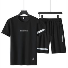 Polos Men Suits Men's Clothes Short Sleeve T-shirts Men Two Piece (Clothes + Pants) Sportswear Suit black m