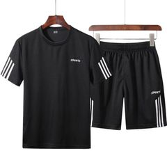 Suits T-shirts Men's Clothes Short Sleeve T-shirt Two Piece (Clothes + Pants) Sportswear Suit Mens black 2xl