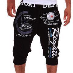 Trousers Men Pants Men's Pants Sports Casual Letter Printed Hip Hop Trousers Loose Pants Black L