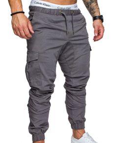 Trousers Men Pants Men's Casual Pants Multi Pocket Woven Fabric Pants Binding Overalls Gray 2xl