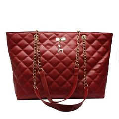 Women's Bags Ladies Shopping Bags Women Shoulder Bag Lingge Female Bag Chain Bag Large Capacity Bag Red one size
