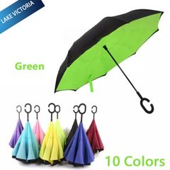【Delivery in 3 Days】LV Cool Sunscreen Hands-free C-shaped Handle Double Layer Inverted Sun Umbrella Green