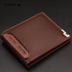 Retro Purse Short  Slim Thin Slim Credit Card  Cute Leather Small Wallet High Quality,Men Wallets coffee one size