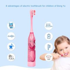 Children Electric Toothbrush Cartoon Pattern Double-sided Tooth Brush Electric Oral Hygiene pink
