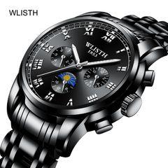 WLISTH 1*Watch Luminous Waterproof  High Quality Quartz Wrist Fashion Men Watch BIACK one size fit all