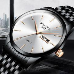 WLISTH Watches Waterproof Steel Band Calendar Leisure Quartz Wrist Watches Men's Fashion Accessories biack one size fit all