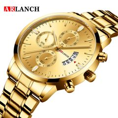 ARLANCH Fashion Men's Waterproof Calendar Stainless Steel Quart Wrist Watches For men gold one size fit all