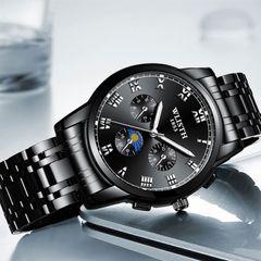 WLISTH Men Watch Luminous Waterproof  High Quality Quartz Wrist Watches For Men BIACK one size fit all