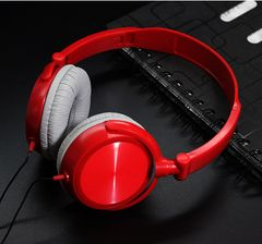 Earphones & Headset  Mega Bass Lightweight and Foldable Wired Pure color red