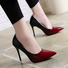 Shadow Women Shoes Pointed Toe Pumps Patent Leather Wine Red 10CM High Heels Boat  Wedding red 39