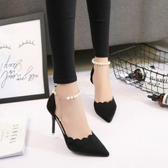 High heeled shoes pointed sexy pearl chain slim heel shallow mouth frosted women's sandals black 38