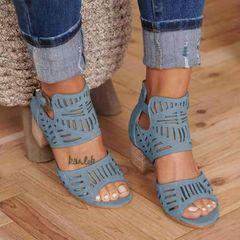 Women Sandals High heel Gladiator Buckle Strap Fashion Shoes Woman Sandalias Mujer blue 39