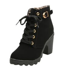 Women Boots High Quality Solid Lace-up European Ladies Shoes PU Fashion High Heels Boots black 39