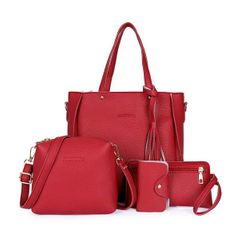 Women Bag Fashion Pebbles Four-Piece Cover Mother Bag Tassel Slung Shoulder Bag Red one size
