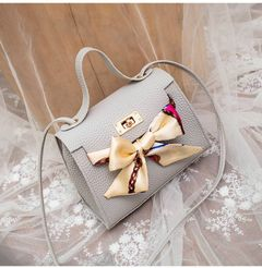 New lock-button litchi-pattern bow scarf bag inclined mobile phone pocket bag lady PU bag grey one size