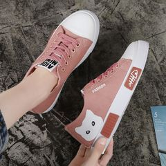 Hot sales Woman Shoes Women Canvas Shoes Cartoon Cat White Sneakers Vulcanized Shoes  Casual Flats white 41