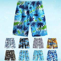Swiming Shorts Men Summer Casual Shorts Hawaiian Print Elastic Waist Bathing Beach Shorts 2 pieces (random colors) One size (suitable within 45-90KG)