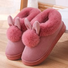 Ladies warm cotton shoes cartoon ball rabbit cotton slippers female cute warm shoes Anti-Slip shoes leather red 40-41