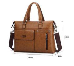 Brands Man bags Men Business Briefcase Leather Shoulder Bags Laptop Bag big Travel Handbag Khaki 36cm x 28cm x6cm