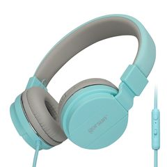 779 Bass Lightweight Stereo Foldable Wired Headphones for Kids Adjustable Headband Headset with Mic blue