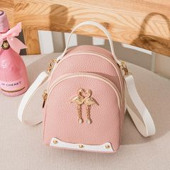 Female 2020 New Fashion Swan Charm Casual Small Bag Shoulder Messenger Bag Shoulder Small School Bag pink
