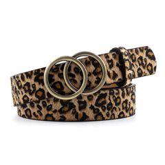 SkyBaby Double Ring Women Belt Fashion Waist PU Leather Metal Buckle Pin Belts Ladies Dress Jeans leopard