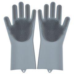 1 Pair Magic Silicone Dishwashing Scrubber Dish Washing Sponge Rubber Scrub Gloves Kitchen Cleaning Gray One Pair