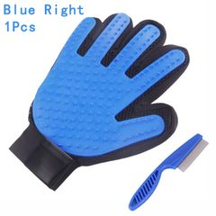 Cat Grooming Glove Pet Brush Glove Cat Dog Hair Remove Brush Deshedding Cleaning Combs Massage Glove Blue(Right Hand) 1 Pcs