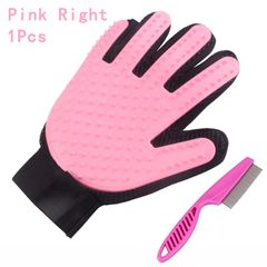 Cat Grooming Glove Pet Brush Glove Cat Dog Hair Remove Brush Deshedding Cleaning Combs Massage Glove Pink(Right Hand) 1 Pcs