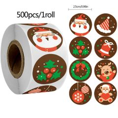 Christmas Kraft Gift Tag Stickers Roll Christmas Holiday Tree Labels Stickers Christmas Decorations C4 500Pcs/1 Roll