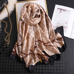 2020 luxury fashion ladies scarf sunscreen beach towel sunscreen vacation air conditioner shawl light brown