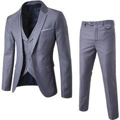Suits Men Suits For Men Clothes Clothes For Men Suit (Suit + Waistcoat + Trousers) Wedding Dress gray M