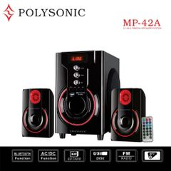 POLYSONIC MP-42A Woofer  Multimedia Speaker System With Bluetooth AC/DC FM,USB red 5500W PMPO. MP-42A