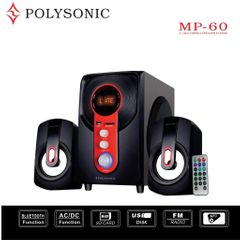 Polysonic MP-60 Woofer  2.1CH  SUB WOOFER MULTIMEDIA SYSTEM ,BLUETOOTH,FM,USB/SD black 5500w pmpo. MP-60