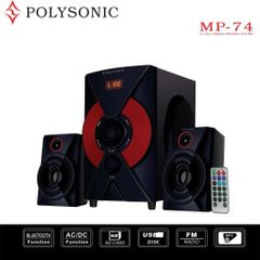 POLYSONIC MP-74 2.1CH Multimedia Blutooth Woofer Speaker System black 5500w pmpo. MP-74