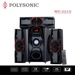 POLYSONIC MP-3315 HOME THEATER SUBWOOFER SOUND BLUTOOTH SYSTEM black 8000W PM.PO MP-3315