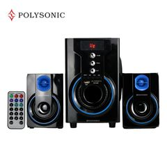 POLYSONIC MP-42A Woofer  Multimedia Speaker System With Bluetooth AC/DC FM,USB blue 5500W PMPO. MP-42A