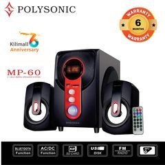 (Anniversary Special Offer)Polysonic MP-60 Woofer  2.1CH SUBWOOFER SPEAKER  SYSTEM ,BLUETOOTH,FM black 5500w pmpo. MP-60