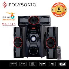 (Anniversary Special Offer)POLYSONIC MP-3315 HOME THEATER SUBWOOFER  SPEAKER SOUND BLUTOOTH SYSTEM black 8000W PM.PO MP-3315