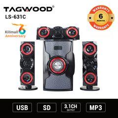 (Anniversary Special Offer)TAGWOOD LS-631C 3.1 SUBWOOFER WITH BLUETOOTH,FM,SB/USB black 9800w pmpo. LS-631C