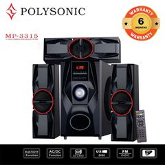 POLYSONIC MP-3315 HOME THEATER SUBWOOFER  SPEAKER SOUND BLUTOOTH SYSTEM black 8000W PM.PO MP-3315